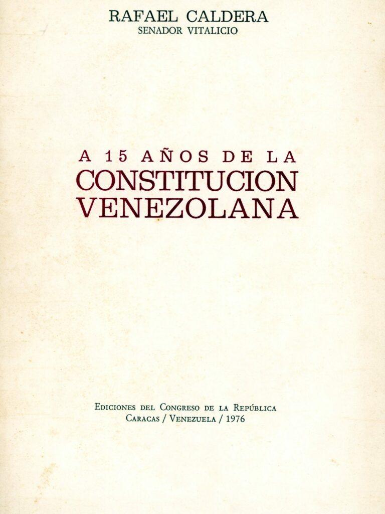A 15 años de la Constitución Venezolana (1976)