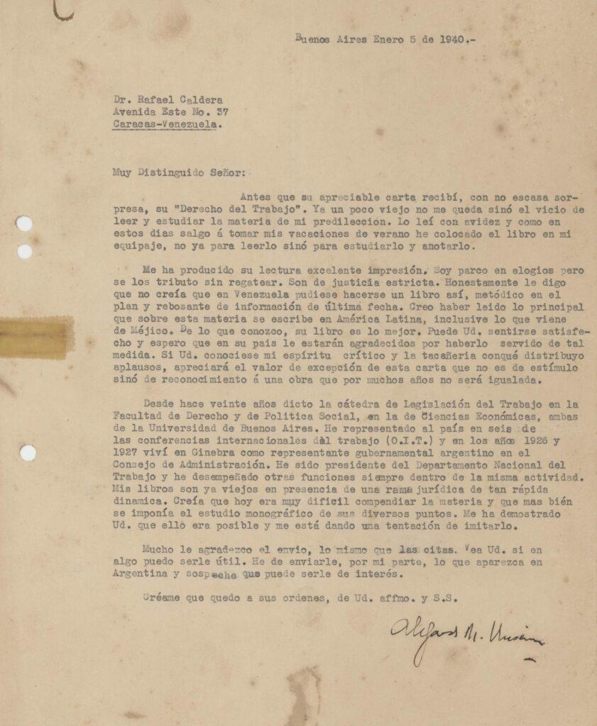 1940. Enero, 5. Carta de Alejandro M. Unsain a Rafael Caldera sobre su libro «Derecho del Trabajo»