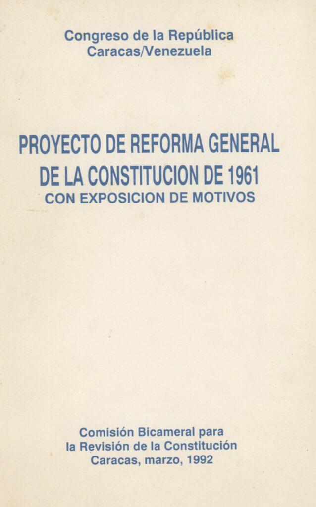 Proyecto de Reforma General de la Constitución de 1961 (1992)