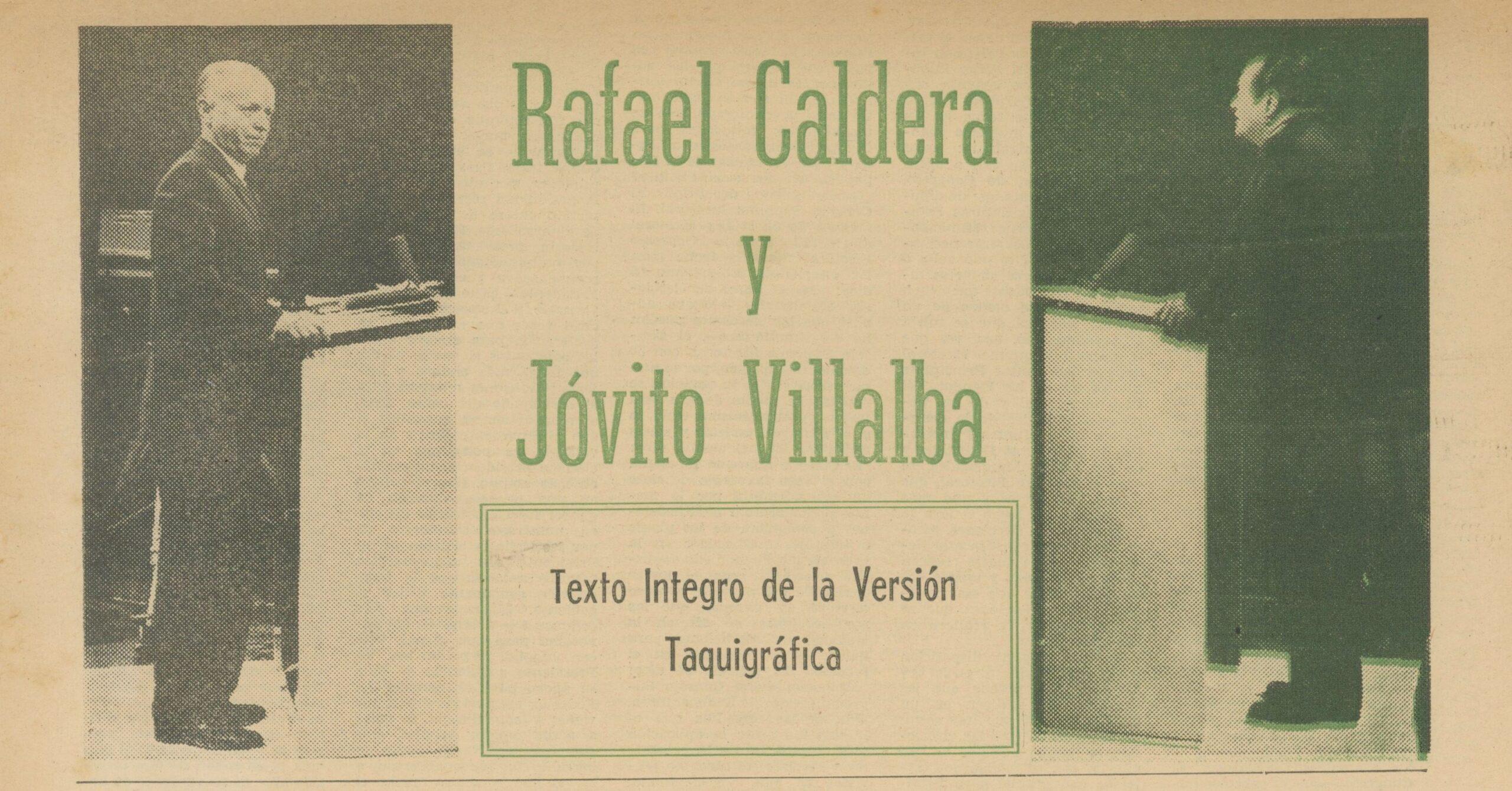 Histórico debate televisado entre Rafael Caldera y Jóvito Villalba (1963)