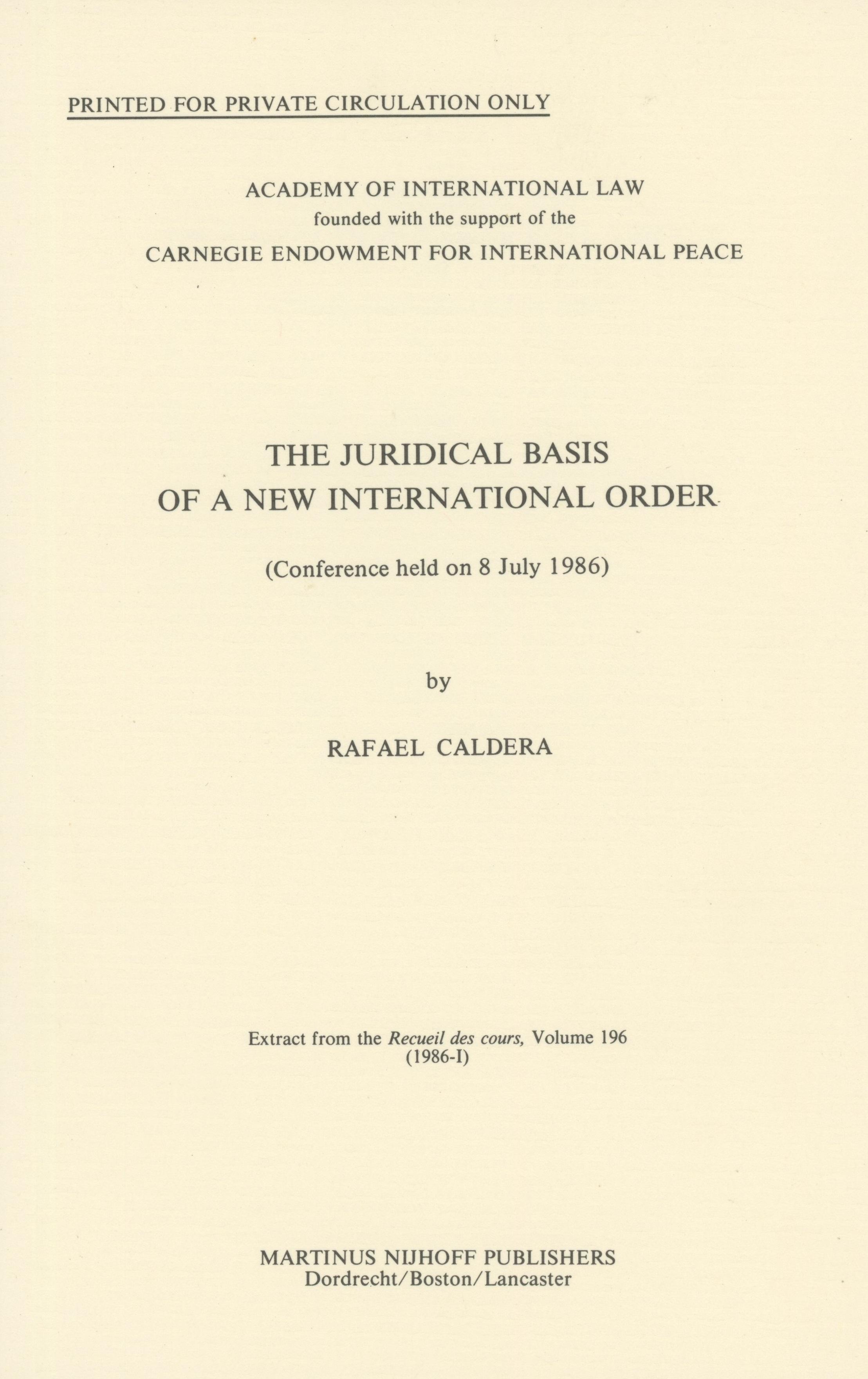 Fundamentos jurídicos del Nuevo Orden Internacional (1986)