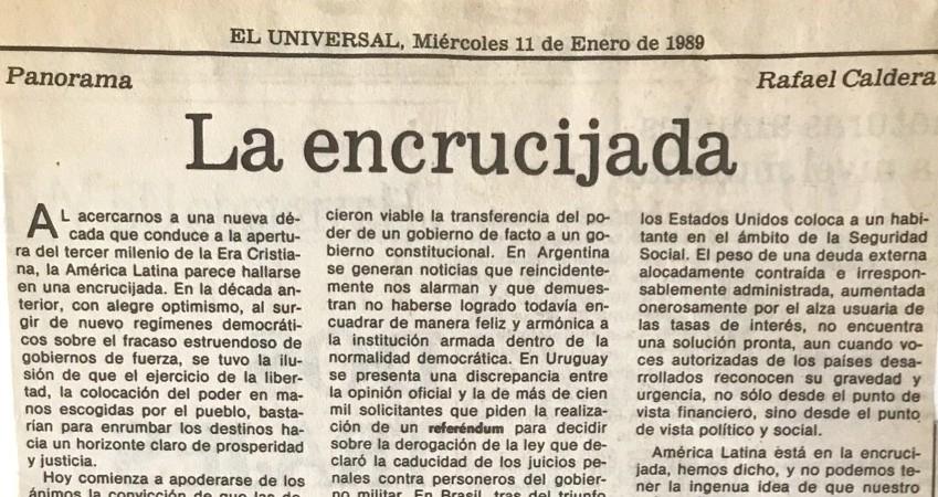 1989. Enero, 11. ALA / El Universal: La encrucijada