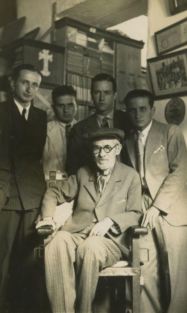 1936. Visita a Tulio Febres Cordero, acompañado con Pedro José Lara Peña, Víctor Giménez Landínez y Edmundo Izarra.