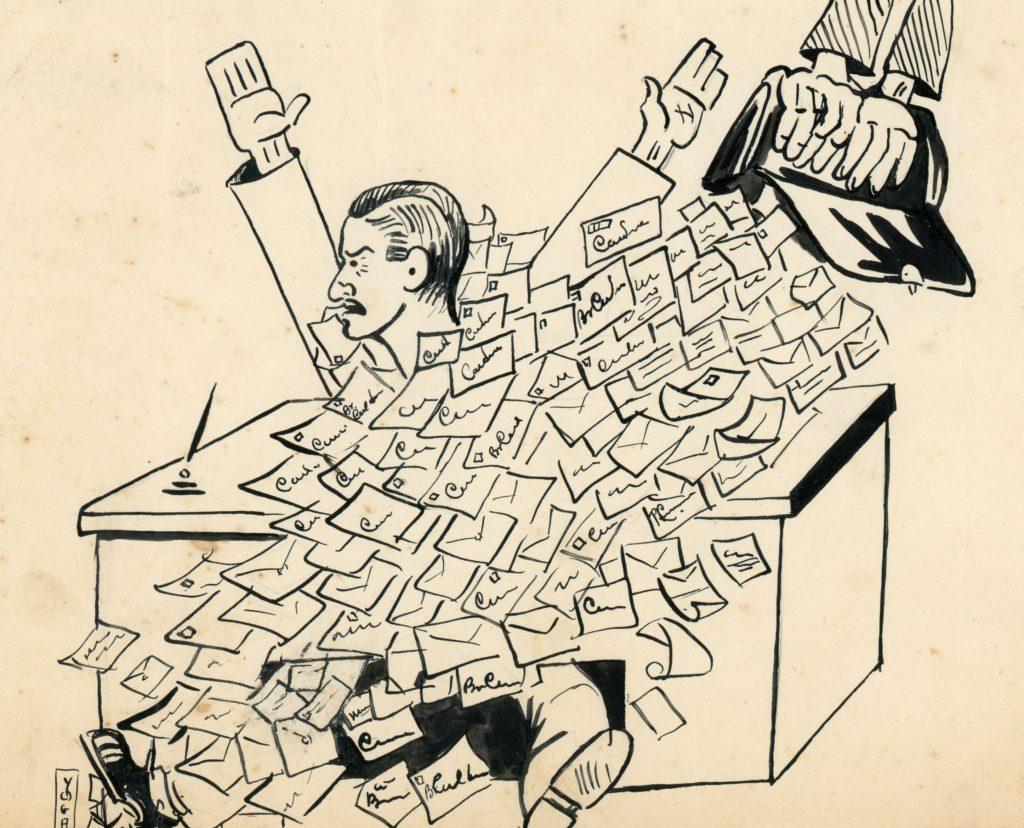 1937. Caricatura de Rafael Caldera por Yoga.