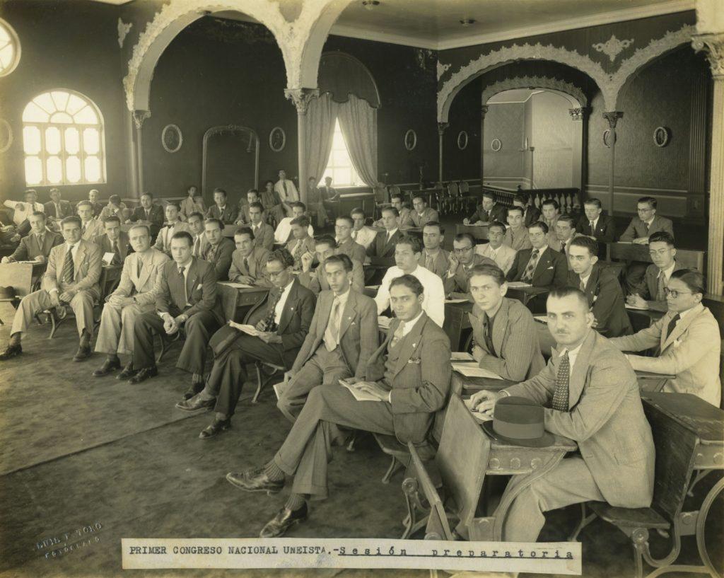1939. Enero, reunión preparatoria del primer congreso nacional de la UNE.