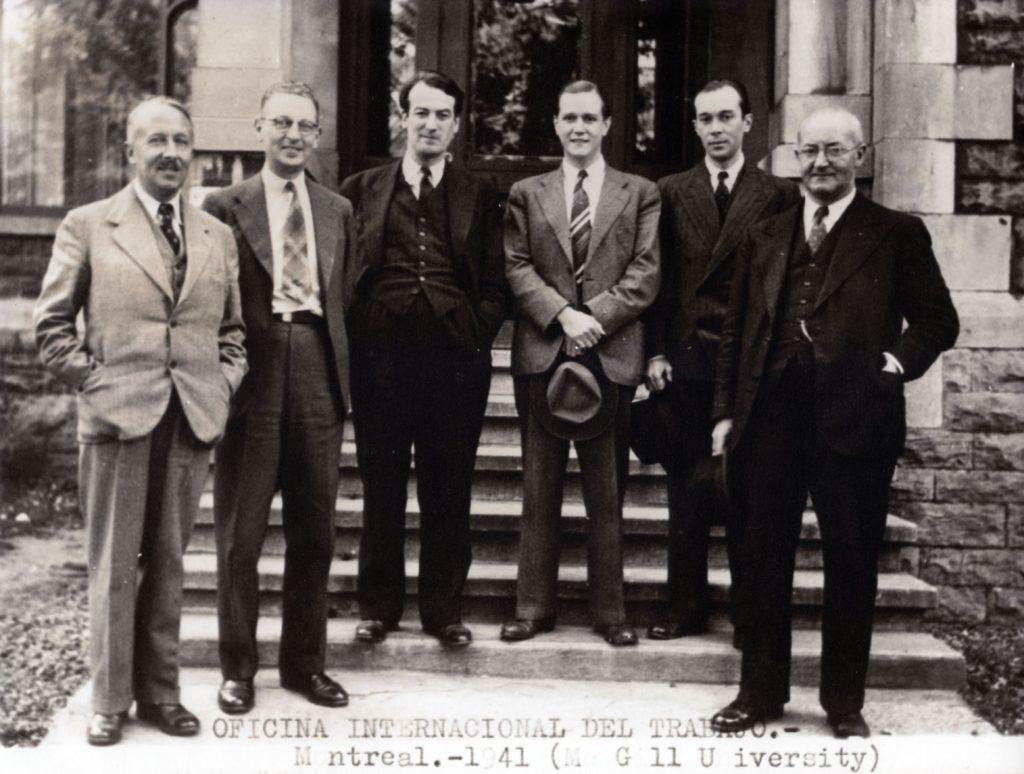 1941. Reunión de la Oficina Internacional del Trabajo (OIT), en la Universidad Mc Gill, Canadá.