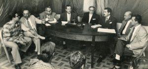 1958. Pedro Pablo Aguilar, Ezequiel Monsalve Casado, Patrocinio Peñuela, Pedro del Corral, Luis Herrera Campíns, Francisco Romero Lobo y Rodolfo José Cárdenas.