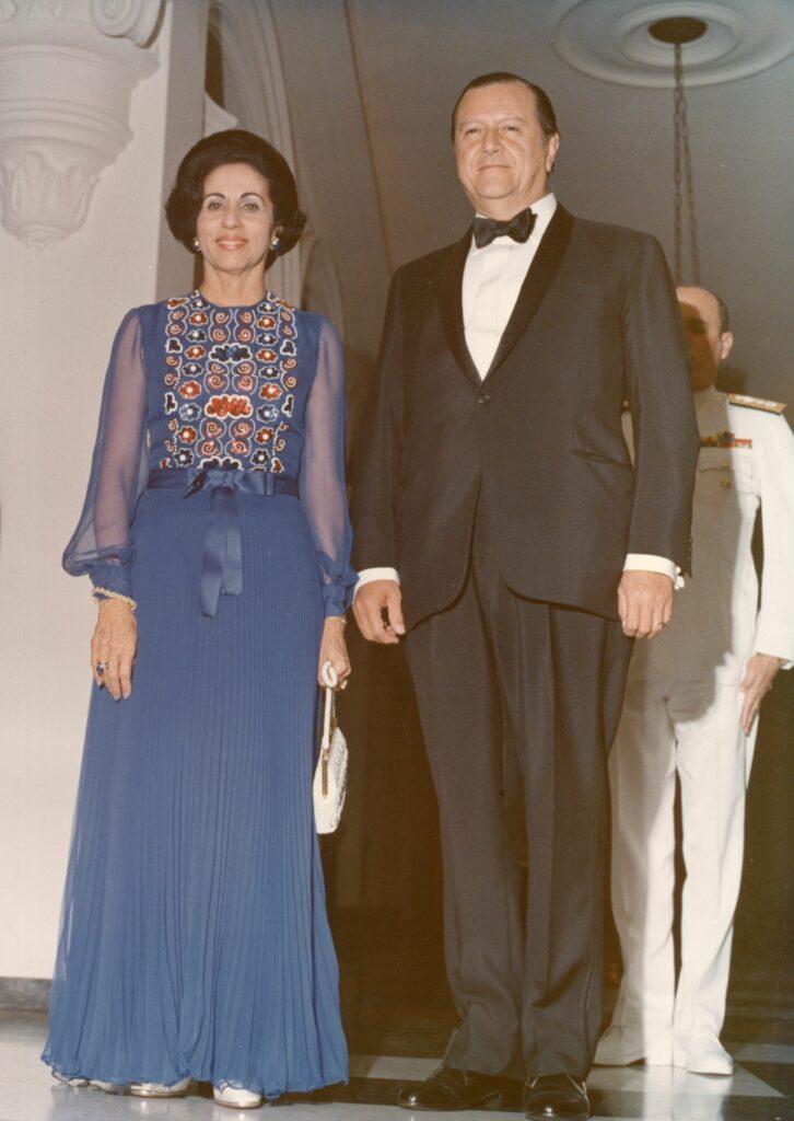 1973. Julio, 13. Recepción de gala al presidente de Bolivia, Hugo Banzer, en la Casa Amarilla de Caracas.