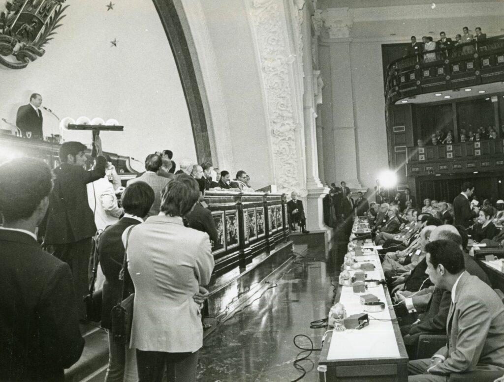 1971. Abril, 14. Instalación de la 106 reunión de la Unión Interparlamentaria Mundial en el Capitolio Nacional, Caracas.
