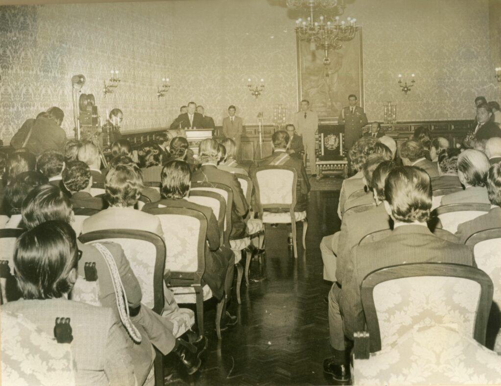 1973. Abril, 16. IV reunión de ministros de educación del Convenio Andrés Bello en el Salón Boyacá del Palacio de Miraflores.