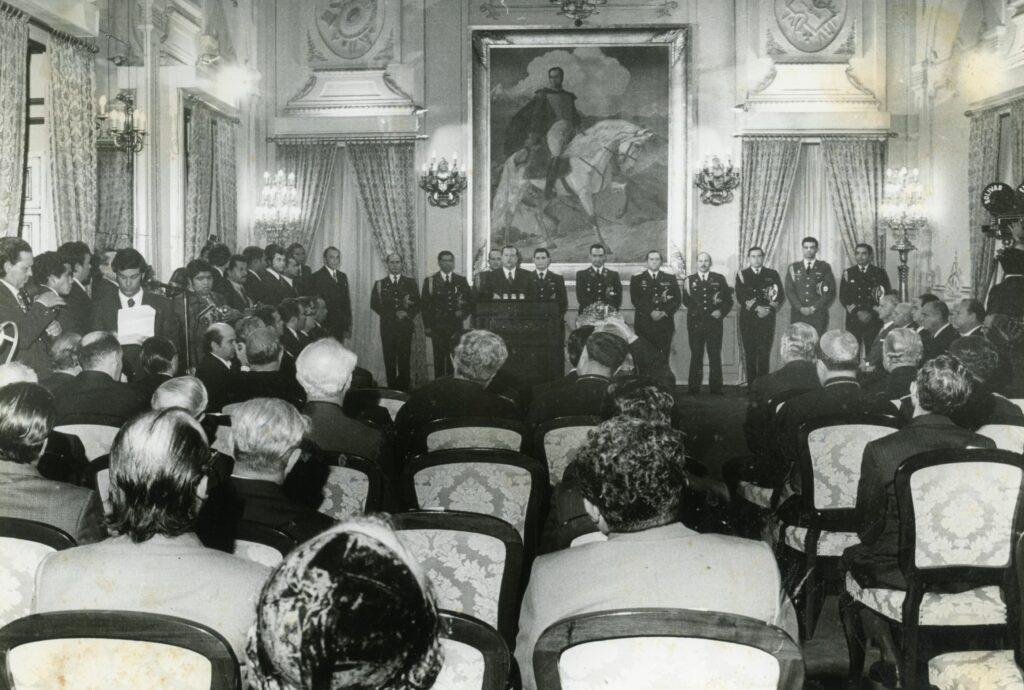 1973. Enero, 1. Alocución de Año Nuevo, en el Salón Sol del Perú del Palacio de Miraflores.