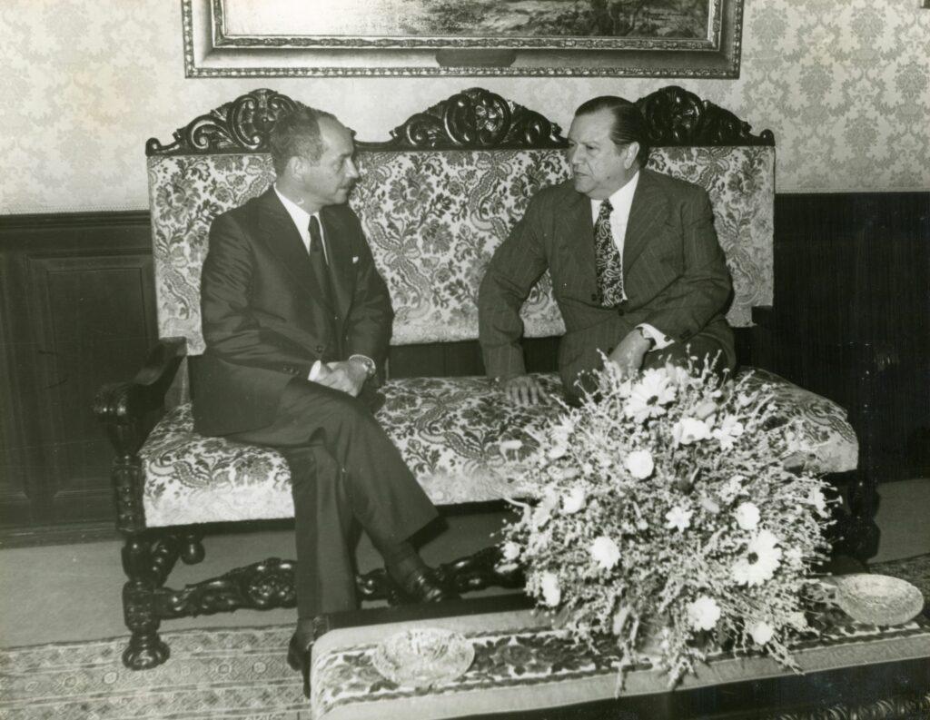 1973. Julio, 13. Visita del presidente de Bolivia, Hugo Banzer Suárez, en la residencia presidencial La Casona, Caracas.