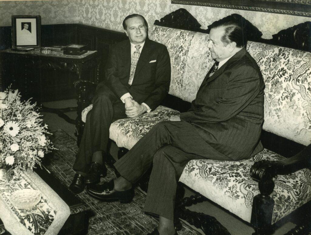 1973. Julio, 23. Visita del presidente de Colombia, Misael Pastrana Borrero, en la residencia presidencial La Casona, Caracas.