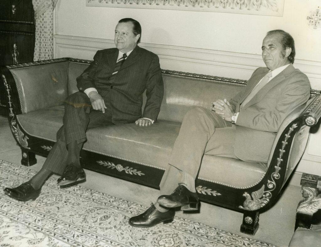 1974. Enero, 8. Visita del presidente electo Carlos Andrés Pérez en el Palacio de Miraflores.