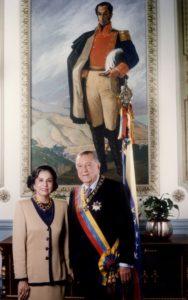 1994. Febrero, 7. Pareja Presidencial para el período constitucional 1994-1999, en el Palacio de Miraflores.