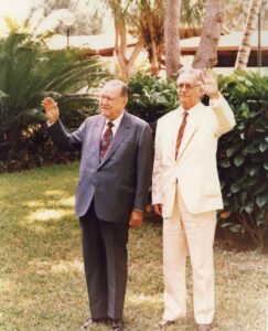 1994. Marzo, 7. Encuentro en La Guzmania, Macuto, con el presidente del Brasil, Itamar Franco.
