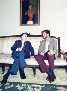 1995. Junto al príncipe Felipe de Asturias, en La Casona.
