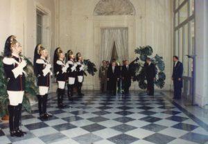 1995. Mayo, 5. Almuerzo ofrecido por el presidente de Italia,Oscar Luigi Scalfaro, en el Palacio del Quirinal, Roma.