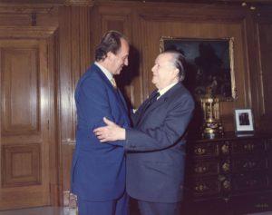 1996. Septiembre, 24. Encuentro con su Majestad el Rey Juan Carlos I en el Palacio de la Zarzuela, Madrid, España.