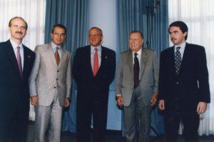 1997. Noviembre, 8. En la VII Cumbre Iberoamericana con los presidentes José María Figueres, Ernesto Zedillo, Ernesto Samper y José María Aznar.