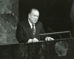 1998. Junio, 10. Intervención en la asamblea de las Naciones Unidas, New York.