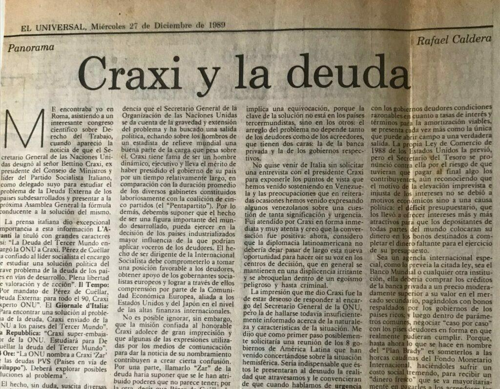 Artículo de Rafael Caldera Craxi y la deuda