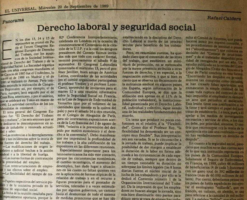 Artículo Rafael Caldera sobre derecho laboral y seguridad social en El Universal. Septiembre 20, 1989.