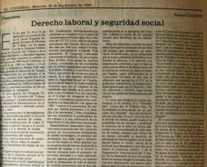 Rafael Caldera - 1989. El Universal. Caldera. Derecho laboral