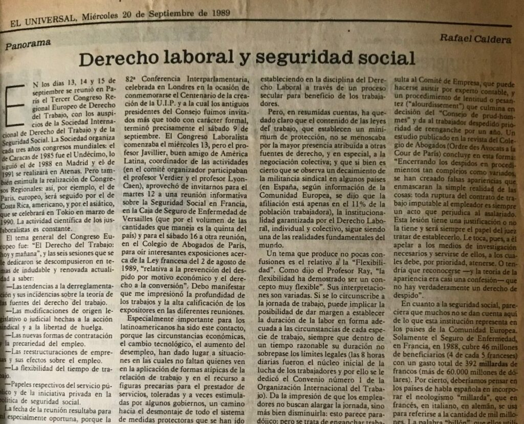 1989. Septiembre, 20. ALA / El Universal: Derecho laboral y seguridad social