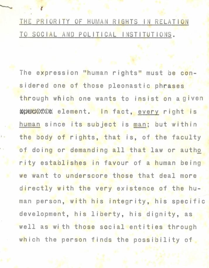 La prioridad de los Derechos Humanos en relación con las instituciones sociales y políticas (1978)