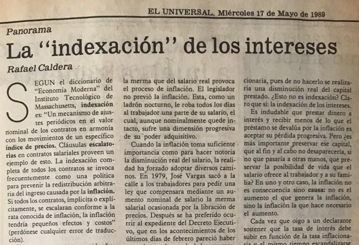 1989. Mayo, 17. ALA / El Universal: La «indexación» de los intereses