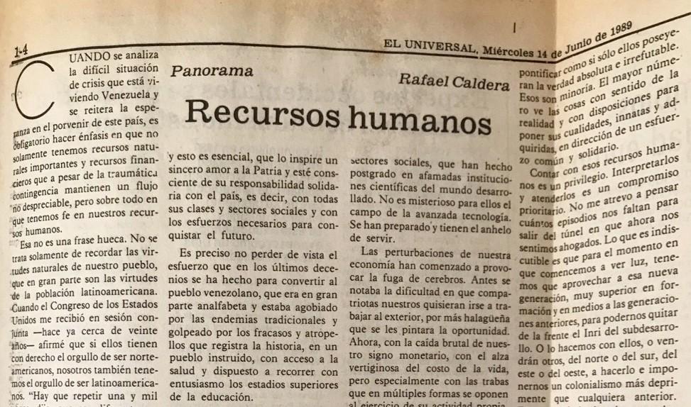 1989. Junio, 14. ALA / El Universal: Recursos Humanos
