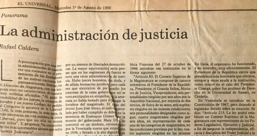 1990. Agosto, 1. ALA / El Universal: La administración de justicia