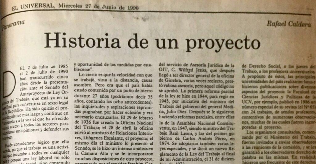 1990. Junio, 27. ALA / El Universal: Historia de un proyecto