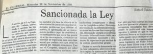 Rafael Caldera - 1990. Noviembre, 28. ALA El Universal Sancionada la ley