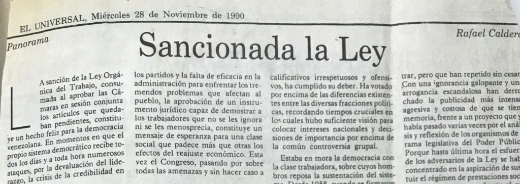 1990. Noviembre, 28. ALA / El Universal: Sancionada la ley