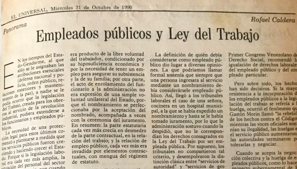 1990. Octubre, 31. ALA / El Universal: Empleados públicos y Ley del Trabajo