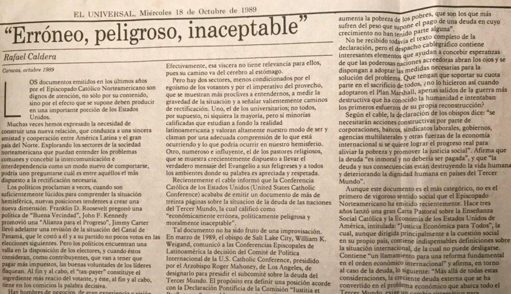 Rafael Caldera - 1989. Octubre, 18. ALA El Universal Erróneo, peligroso, inaceptable