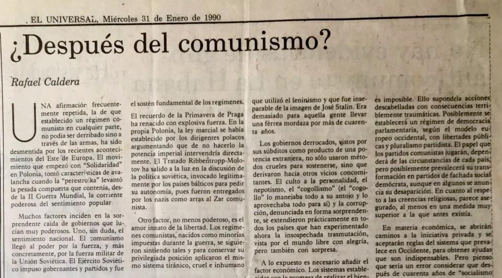 Rafael Caldera - 1990. Enero, 31. ALA El Universal Después del comunismo