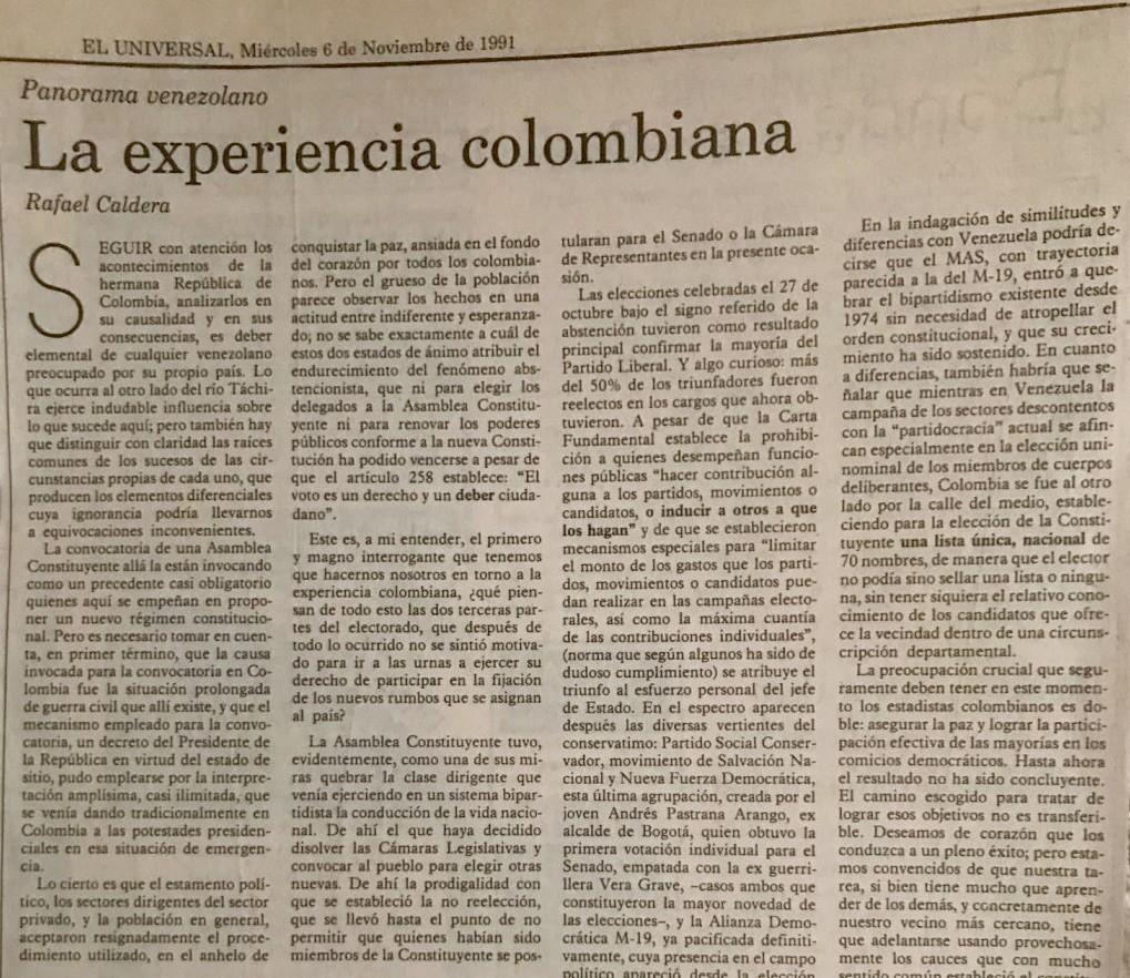 Rafael Caldera - 1991 Noviembre 6 ALA El Universal La experiencia colombiana