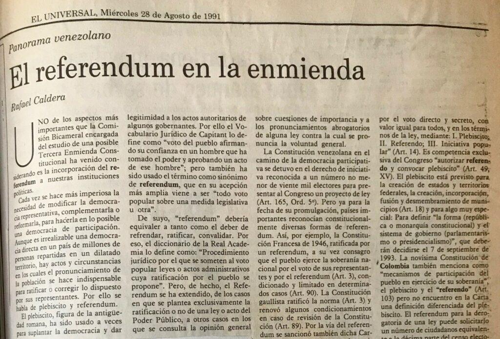 El referéndum en la enmienda
