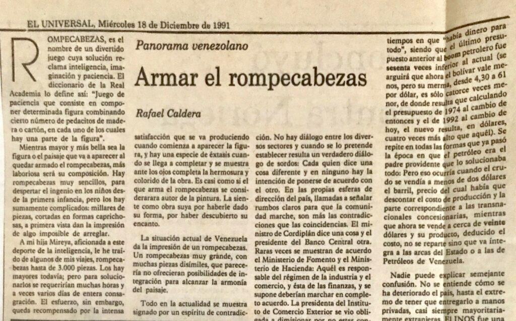 Rafael Caldera - 1991. Diciembre, 18. ALA El Universal Armar el rompecabezas