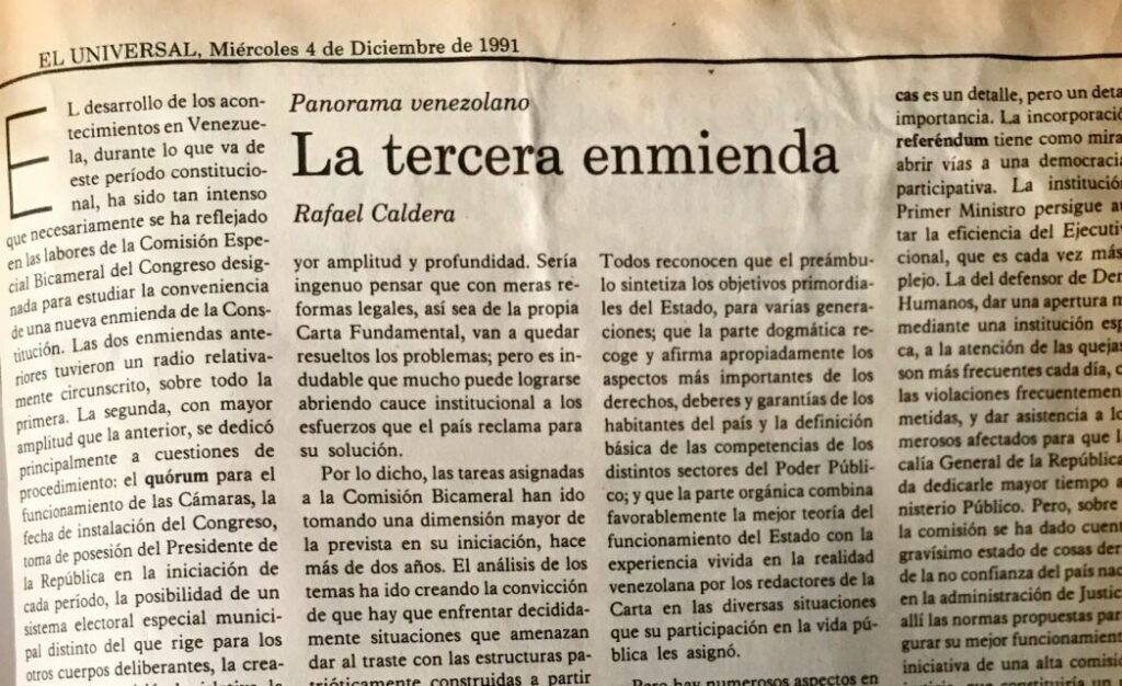 Rafael Caldera - 1991. Diciembre, 4. ALA El Universal La tercera enmienda
