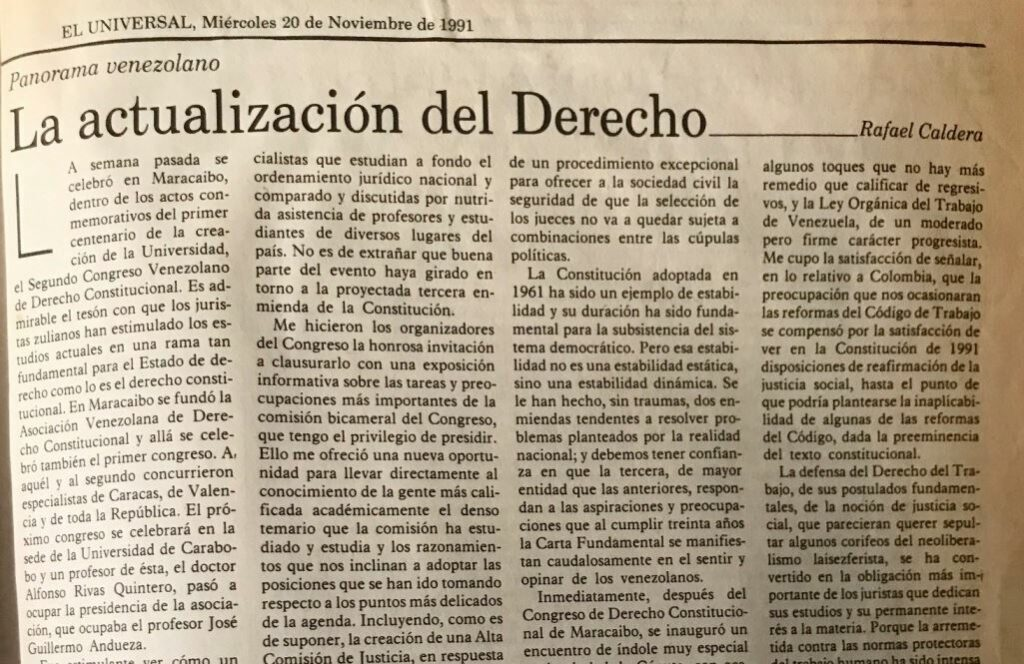Rafael Caldera - 1991. Noviembre, 20. ALA El Universal La actualización del derecho