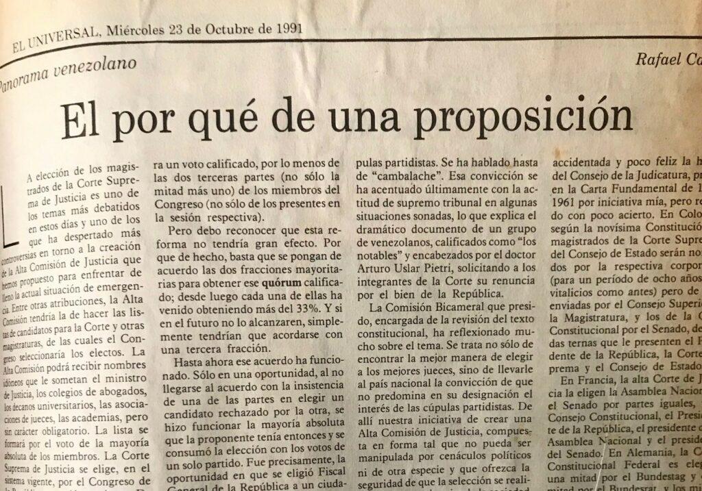 Rafael Caldera - 1991. Octubre, 23. ALA El Universal El por qué de una proposición