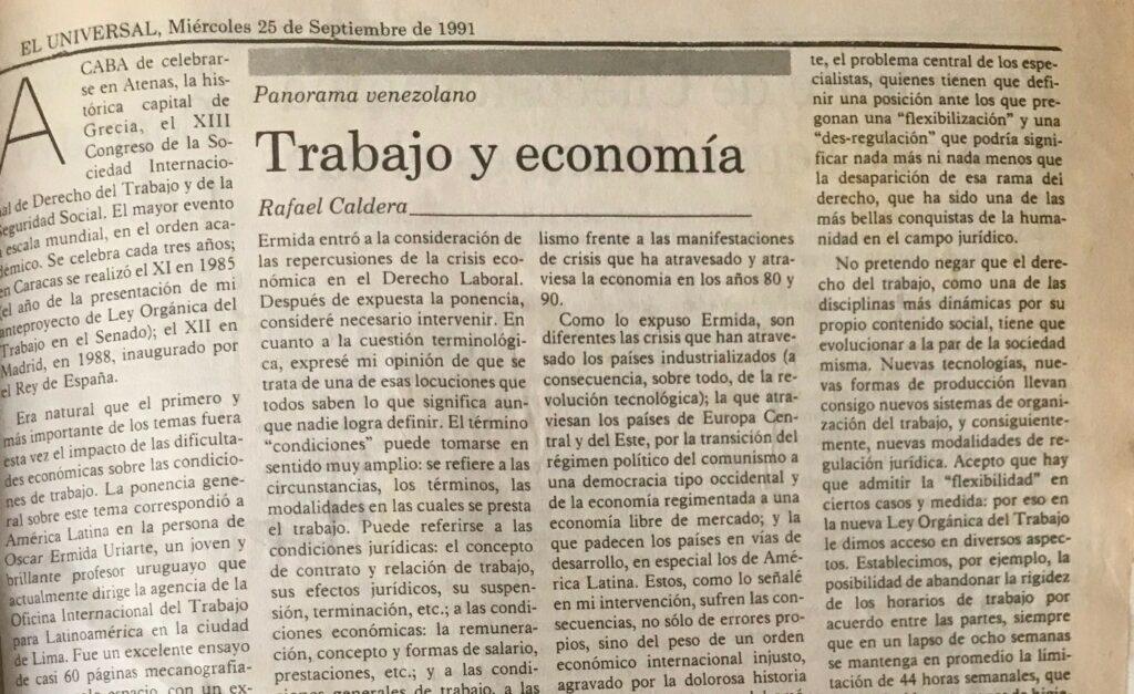Artículo Rafael Caldera Trabajo y economía (1991)