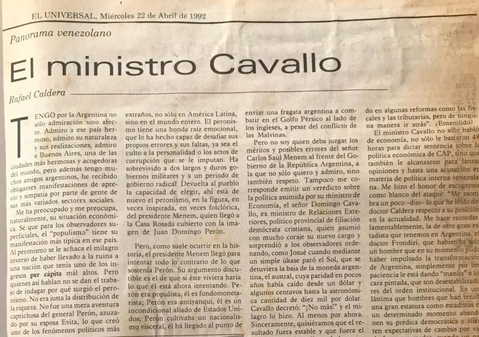 1992. Abril, 22. ALA / El Universal: El ministro Cavallo