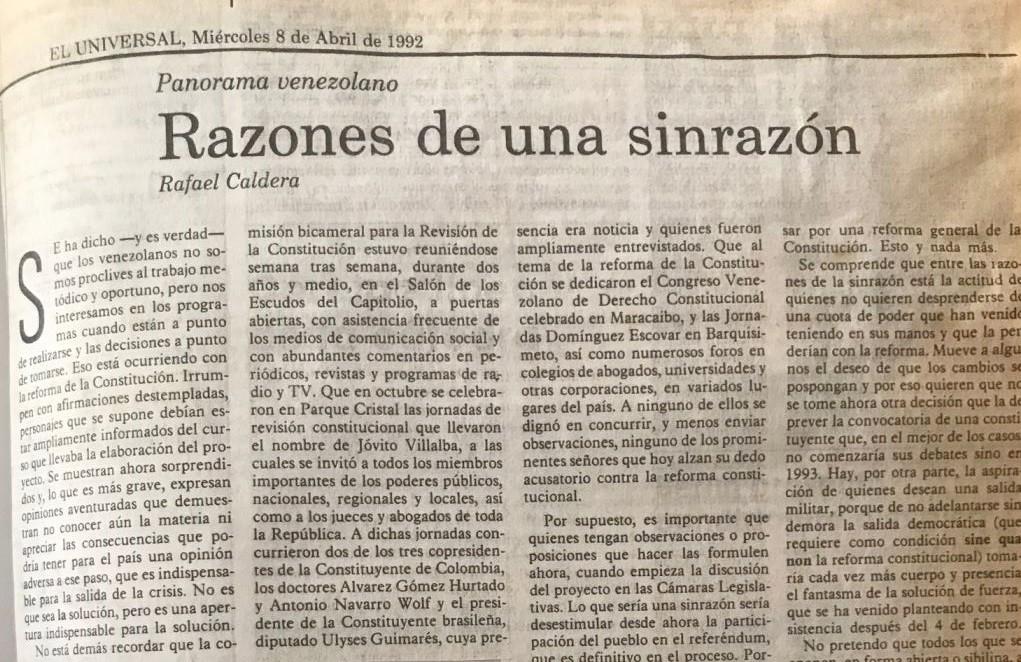 1992. Abril, 8. ALA / El Universal: Razones de una sinrazón