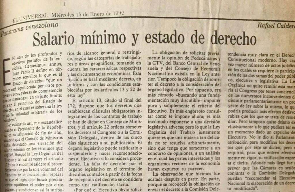 Rafael Caldera - 1992. Enero, 15. ALA El Universal Salario mínimo y Estado de derecho