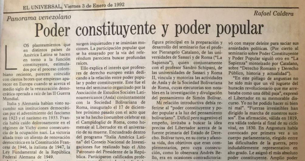Rafael Caldera - 1992. Enero, 3. ALA El Universal Poder Constituyente y Poder Popular